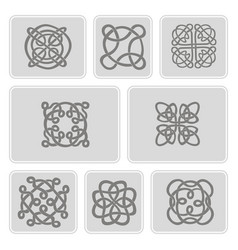 icons set with celtic art and ethnic ornaments vector image