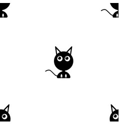 image of a black kitten looking to the side flat vector image