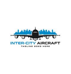 inter-city aircraft logo vector image