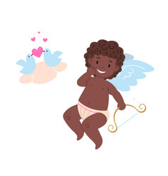 isolated black african cupid holding bow vector image