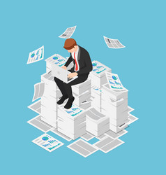 Isometric businessman working with laptop on the vector