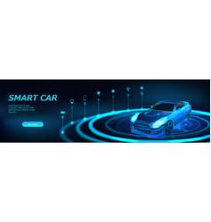 isometric smart car banner vector image