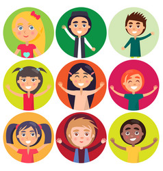 kids of various ethnic groups isolated vector image