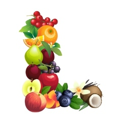 Letter l composed different fruits with leaves vector