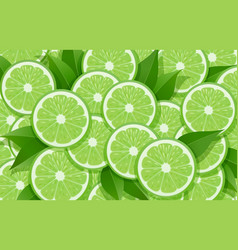 lime and leaf citrus pattern vector image