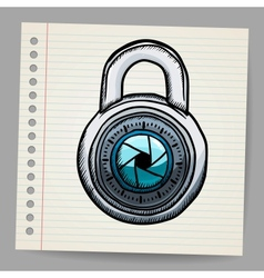 Lock in doodle style vector