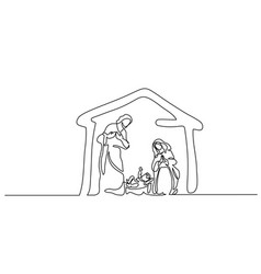 merry christmas scene of holy family vector image
