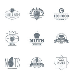 nuts logo set simple style vector image