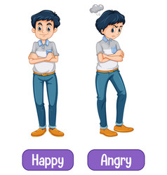 Opposite words with happy and angry vector