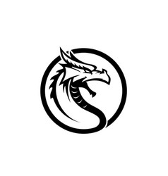 Original dragon face head black dragon face vector