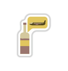 Paper sticker on white background wine plane vector