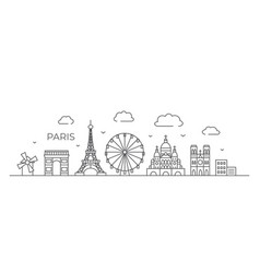 paris line drawing paris in line vector image