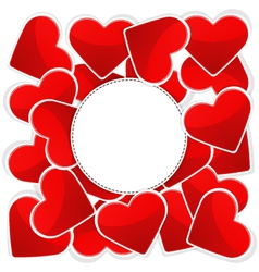 Pattern with white paper and red hearts vector image