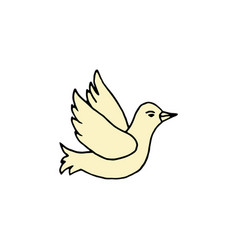 pigeon cartoon hand drawn icon vector image
