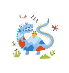 playful monster alien dragon or dinosaur vector image