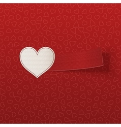 Realistic Valentines Day white Heart Label vector image