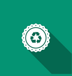 recycle symbol label icon with long shadow vector image