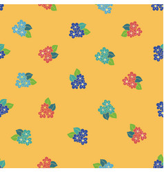 red yellow blue hibiscus hand drawn pattern vector image