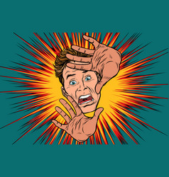 scared man covered with hands vector image