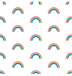 Seamless pattern with rainbows on white vector