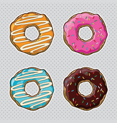 set bright donuts vector image