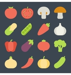 set flat design icons for fruits and vegetables vector image