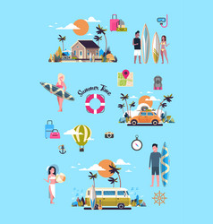 set summer vacation surf bus sunset tropical beach vector image