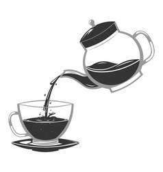 Silhouette pour coffee drink from glass teapot vector