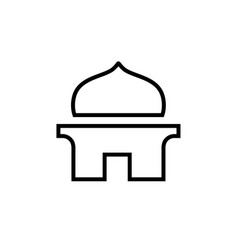Simple mosque or mushola logo icon line art vector