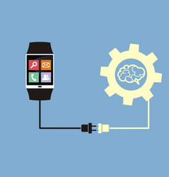smart watch connected to brain vector image