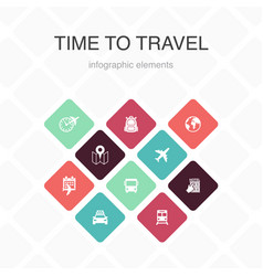 time to travel infographic 10 option color design vector image