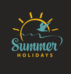travel summer banner with inscription sun gull vector image