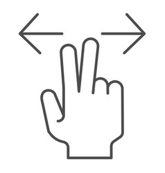 Two fingers resize thin line icon enlarge vector