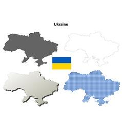 Ukraine outline map set vector image