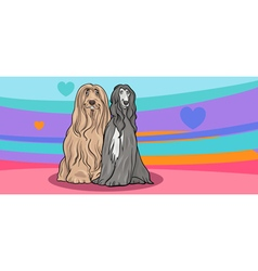 Valentine card with dogs in love vector
