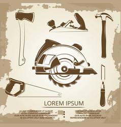 Vintage design of carpentry equipment collection vector
