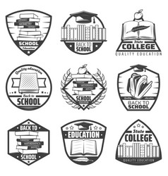 vintage monochrome education labels set vector image