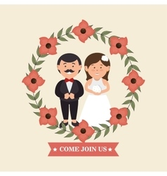 Wedding invitation with couple and crown flowers vector