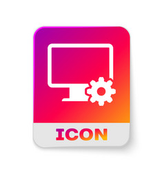 white computer monitor and gear icon isolated on vector image