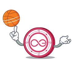 With basketball aeternity coin character cartoon vector