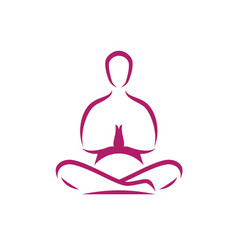 yoga logo meditation man in lotus position vector image