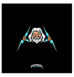Zeus thunderbolt esport gaming mascot logo vector