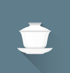 flat Chinese tea gaiwan icon vector image