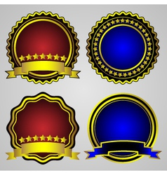 four gold-framed labels set vector image