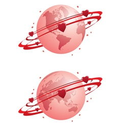 globe and hearts vector image vector image