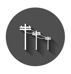 high voltage power lines electric pole icon with vector image