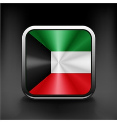 Kuwait flag button kuwait icon button vector image