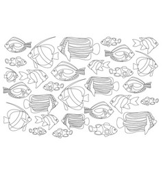 outlined coral fishes horizontal coloring page vector image vector image