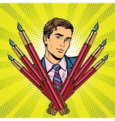 businessman and ink fountain pen icon vector image vector image