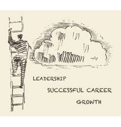 Drawn man climbing stair successful career vector image